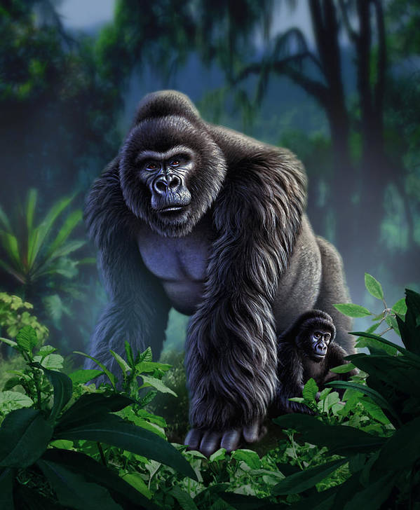 Gorilla Poster featuring the painting Guardian by Jerry LoFaro