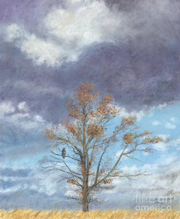 Landscape Poster featuring the painting Oak And Clouds by Jymme Golden