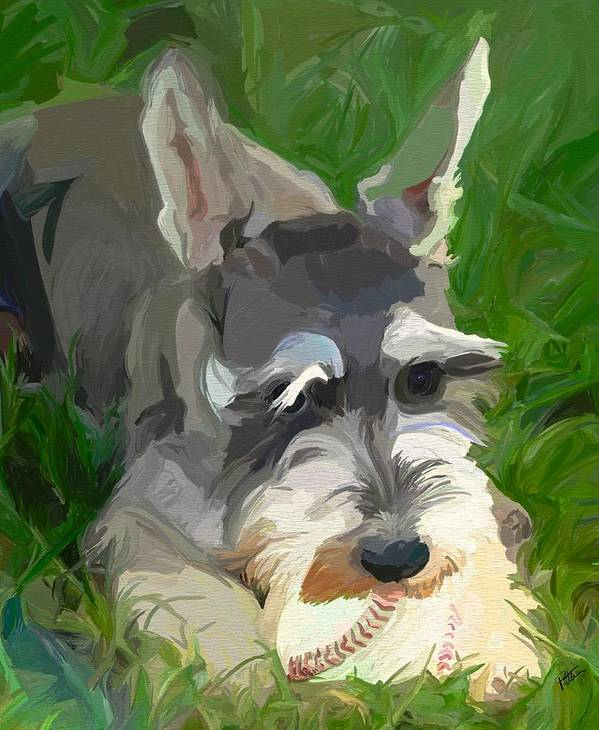 Dog Poster featuring the painting Play Ball by Patti Siehien