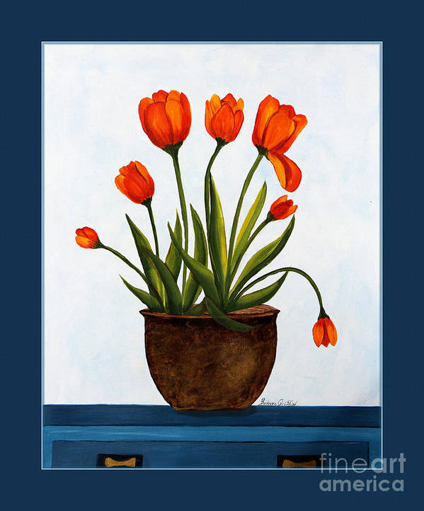Tulips Poster featuring the painting Tulips On A Blue Buffet With Borders by Barbara Griffin