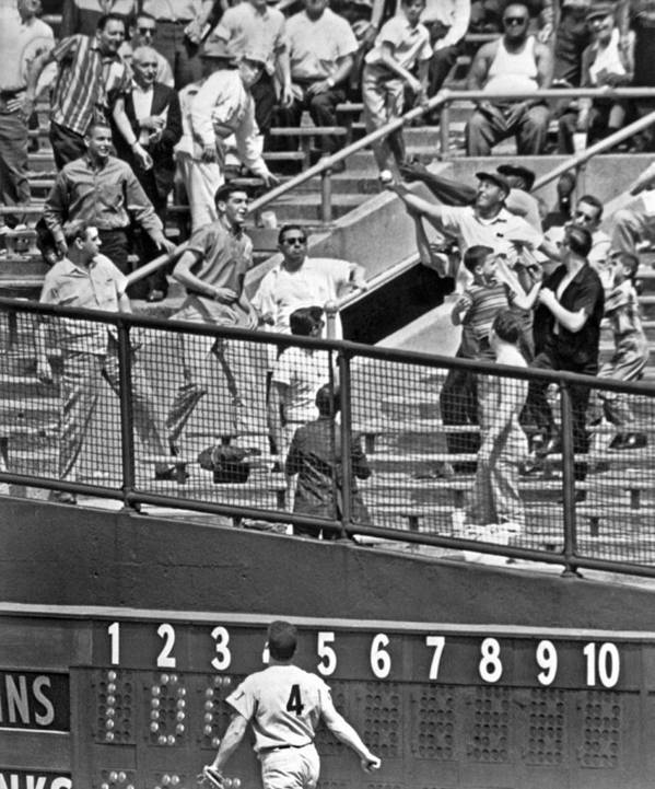 1961 Poster featuring the photograph Yogi Berra Home Run by Underwood Archives