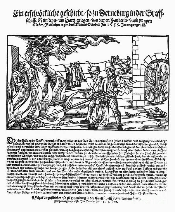 1555 Poster featuring the photograph Burning Of Witches, 1555 by Granger