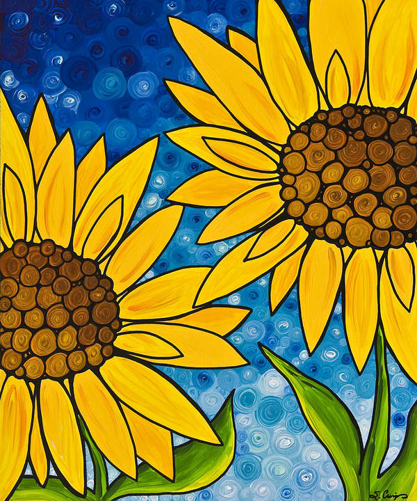 Sunflower Poster featuring the painting Yellow Sunflowers by Sharon Cummings