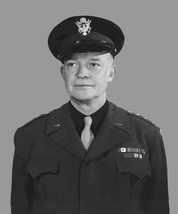 Eisenhower Poster featuring the painting General Dwight D. Eisenhower by War Is Hell Store