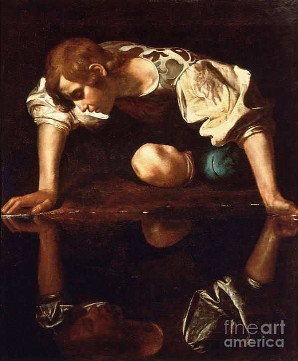 1596 Paintings Poster featuring the painting Narcissus by Pg Reproductions