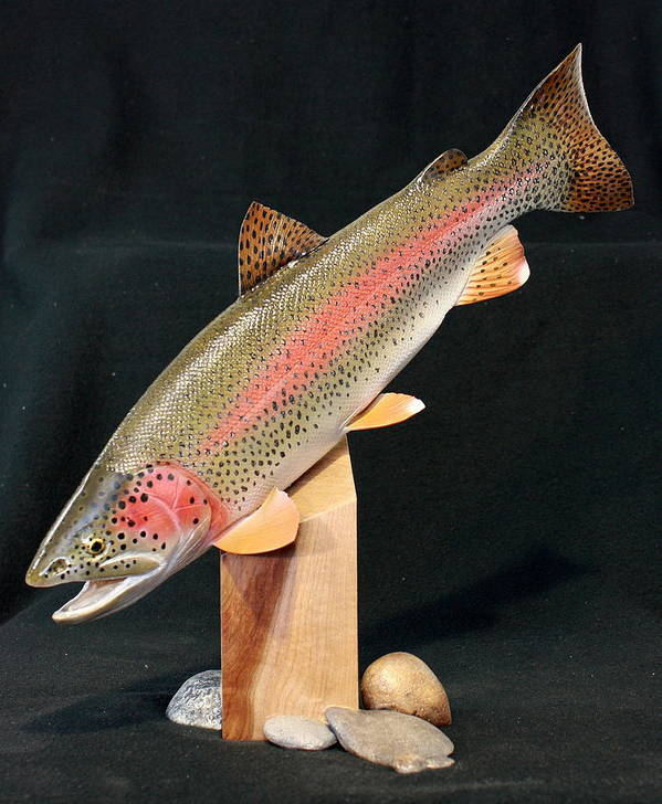 Salmon Poster featuring the sculpture Rainbow Trout On Maple 15 by Eric Knowlton