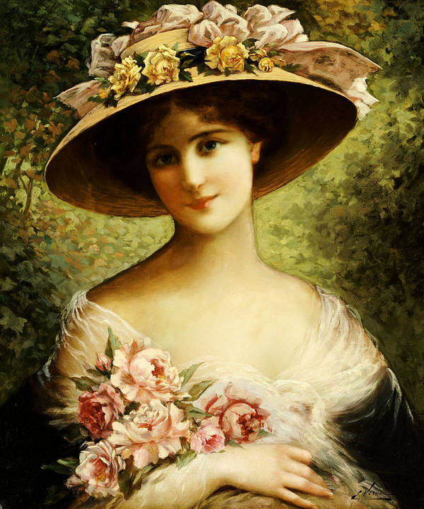 The Fancy Bonnet (oil On Canvas) By Emile Vernon (1872-1919) Rose Poster featuring the painting The Fancy Bonnet by Emile Vernon