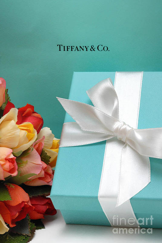 Anniversary Poster featuring the photograph Little Blue Gift Box by Amy Cicconi