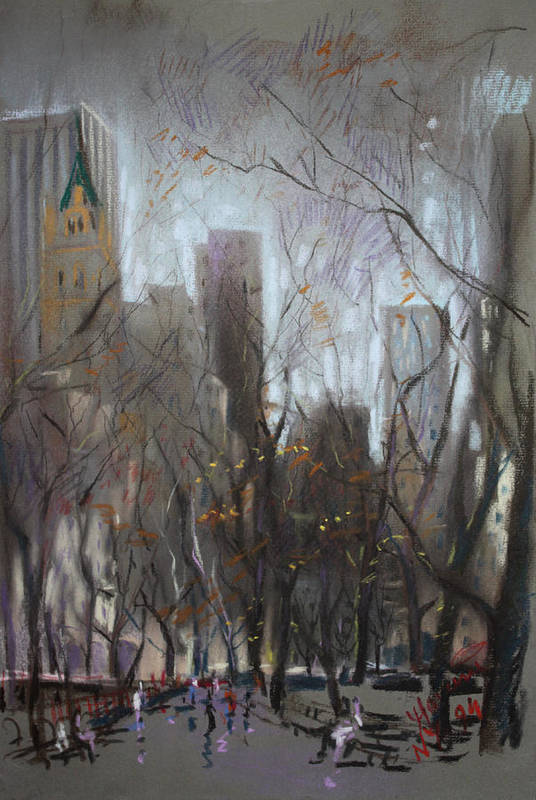 Ny City Poster featuring the pastel Nyc Central Park by Ylli Haruni