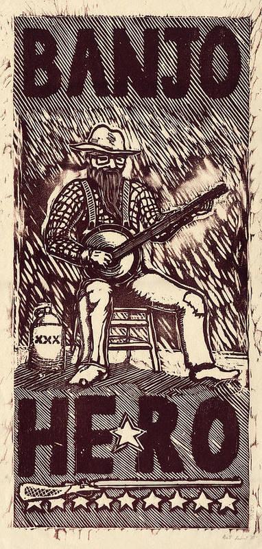 Banjo Poster featuring the painting Banjo Hero by Mathew Luebbert
