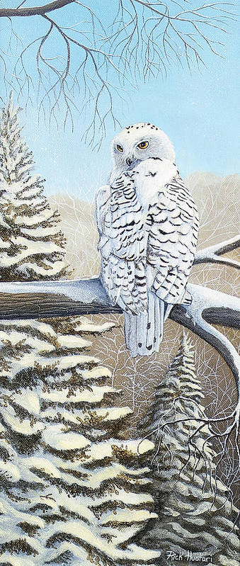 Rick Huotari Poster featuring the painting Snowy Owl by Rick Huotari