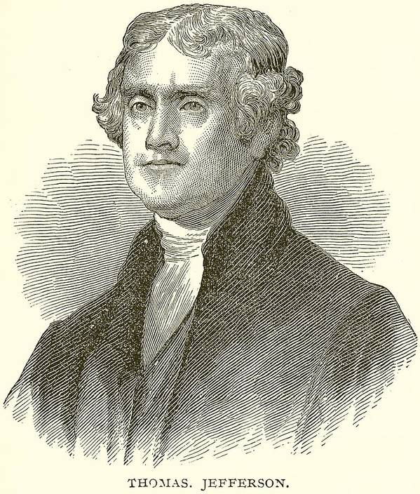 Thomas Jefferson Poster featuring the drawing Thomas Jefferson by English School
