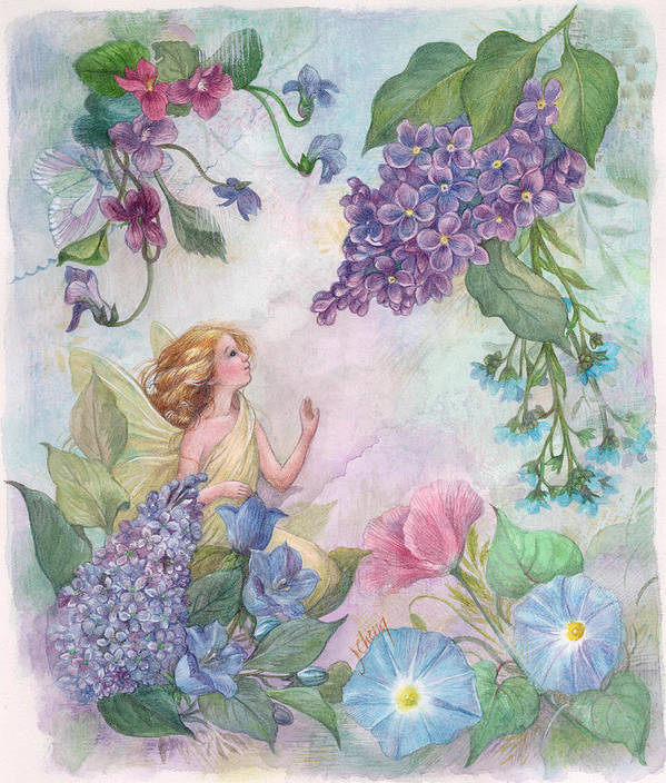 Enchanting Poster featuring the painting Lilac Enchanting Flower Fairy by Judith Cheng