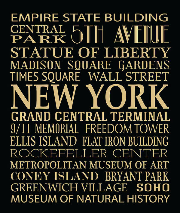 New York Poster featuring the digital art New York Attractions by Jaime Friedman