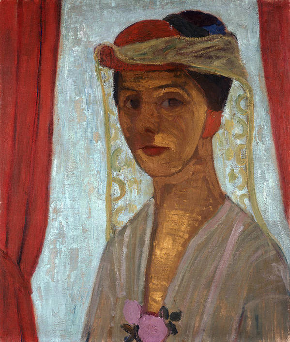 Female Poster featuring the painting Self Portrait, 1906-7 by Paula Modersohn-Becker