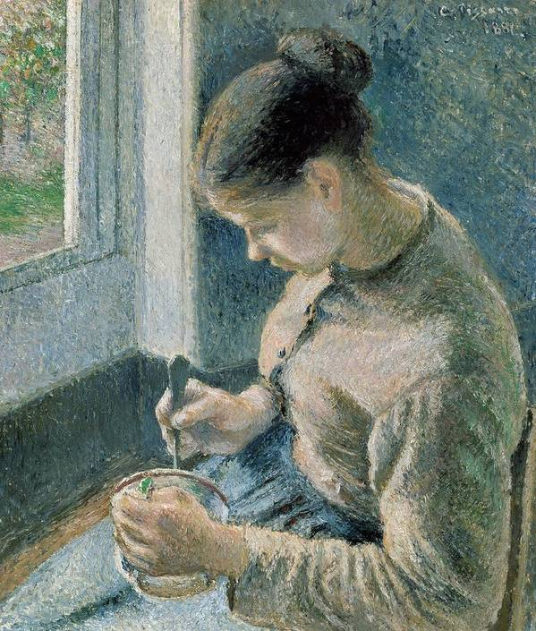 Art Poster featuring the painting The Breakfast by Camille Pissarro