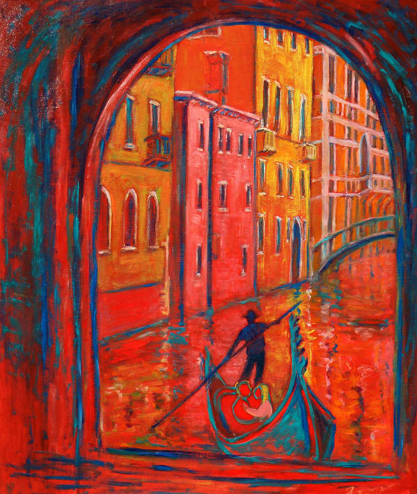 Landscape Poster featuring the painting Venice Impression Viii by Xueling Zou