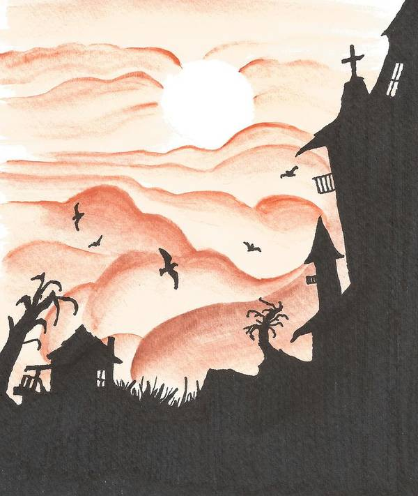 Landscape Poster featuring the mixed media Blood Red Sky by Anthony McCracken