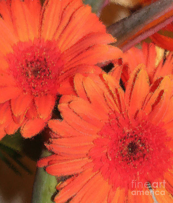 Orange Poster featuring the digital art Flower Power by Peggy Starks