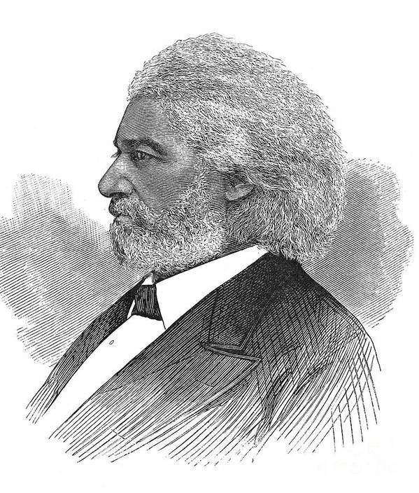 1877 Poster featuring the photograph Frederick Douglass (c1817-1895). American Abolitionist. Wood Engraving, American, 1877 by Granger