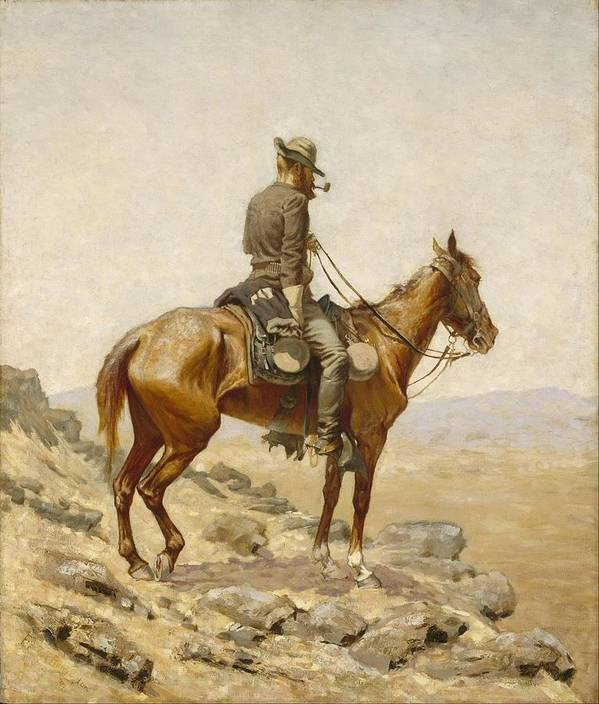 Frederic Remington Poster featuring the painting The Lookout by Frederic Remington