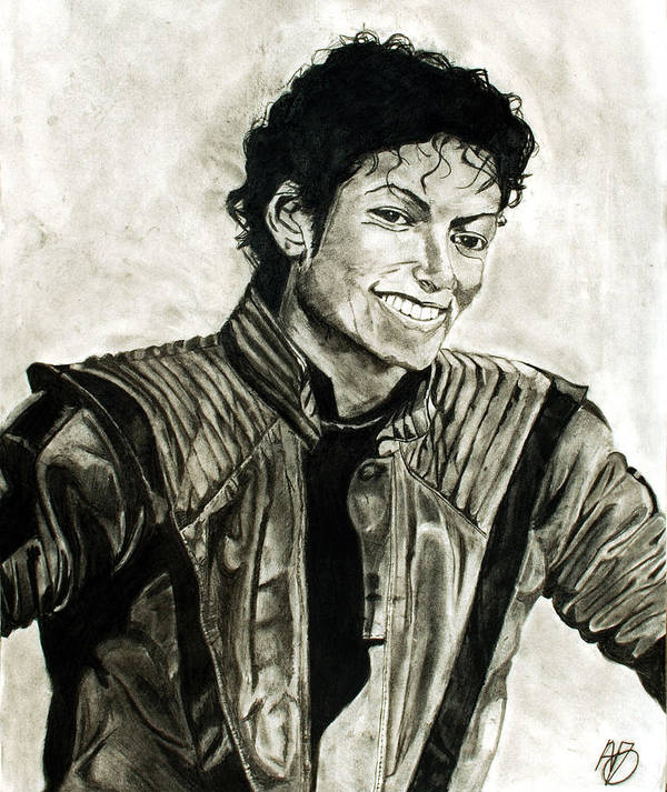 Michael Jackson Poster featuring the drawing Black And White by Andrew Ormes