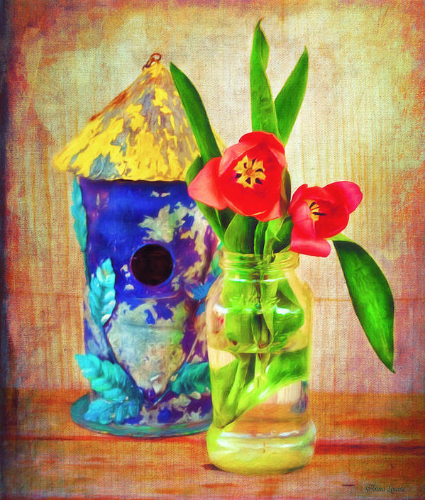 Tulips Poster featuring the photograph Blue Birdhouse And Red Tulips 2 by Anna Louise