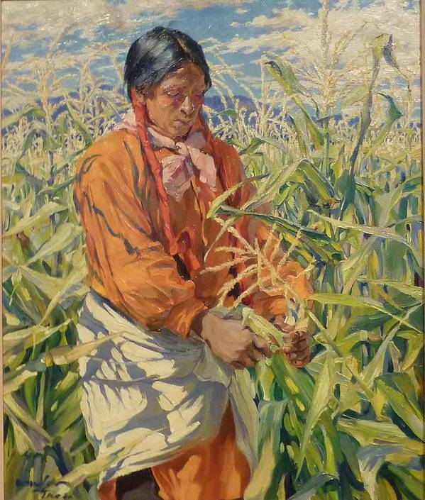Walter Ufer Poster featuring the painting Corn Picker 1915 by Walter Ufer