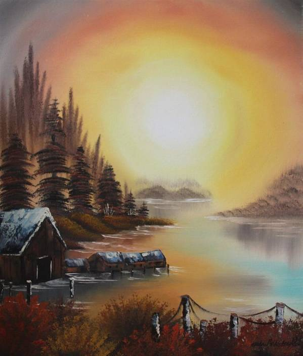 Lake Poster featuring the painting Living On A Lake by Nadine Westerveld