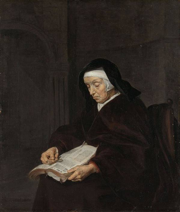 Girl Poster featuring the painting Old Woman Meditating, Gabriel Metsu, C. 1661 - C. 1663 by Gabriel Metsu