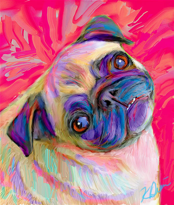 Pug Poster featuring the digital art Pugsly by Karen Derrico