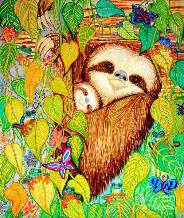 Mother And Baby Sloth Poster featuring the drawing Rain Forest Survival Mother And Baby Three Toed Sloth by Nick Gustafson