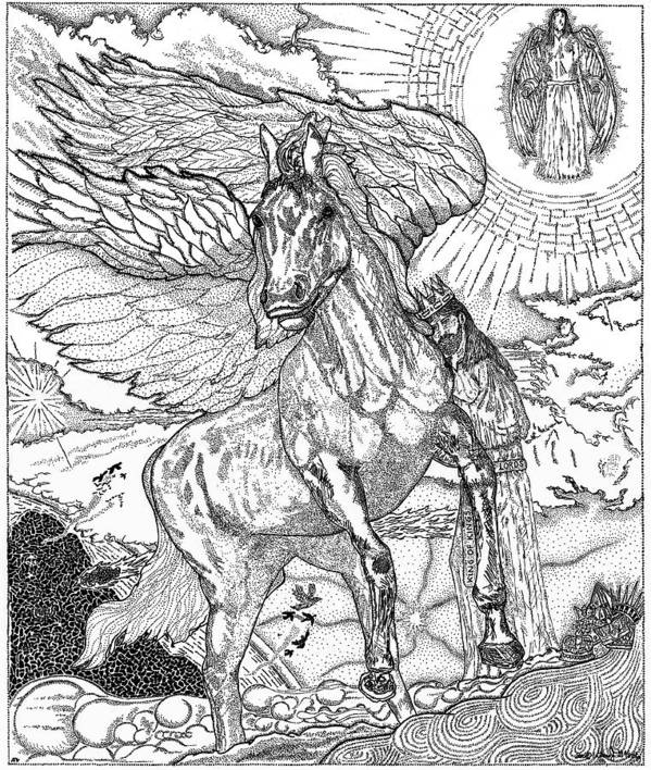 Horse Poster featuring the drawing Revelation  Return Of The King by Glenn McCarthy Art and Photography