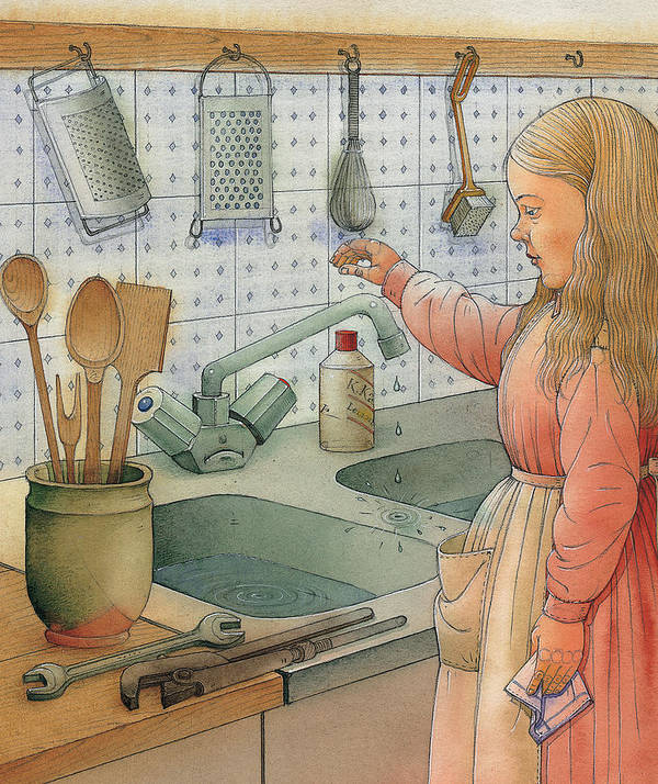 Tap Sink Kitchen Girl Dishes Cold Water Poster featuring the painting Tap by Kestutis Kasparavicius
