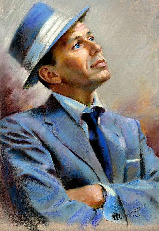 Francis frank Sinatra Poster featuring the pastel Frank Sinatra by Ylli Haruni