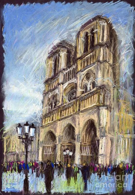 Cityscape Poster featuring the pastel Paris Notre-dame De Paris by Yuriy Shevchuk