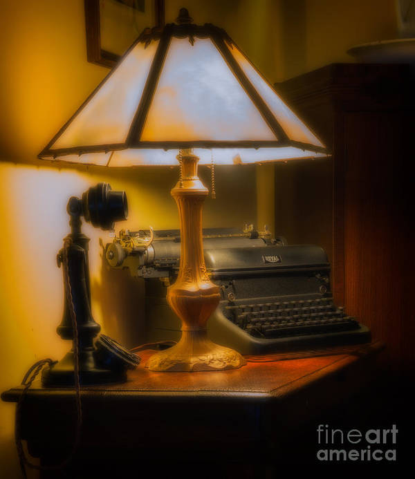 2014 Poster featuring the photograph Antique Lamp Typewriter And Phone by Jerry Fornarotto