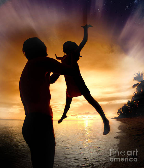 Active Poster featuring the photograph Silhouette Family Of Child Hold On Father Hand by Anek Suwannaphoom