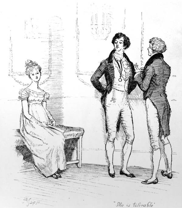 She Is Tolerable; Illustration; Pride And Prejudice; Jane Austen; Illustrated; Edition; Mr; Darcy; Slighting; Slighted; Elizabeth Bennet; Meryton Assembly; Dance; Offended; Lovers; Couple; First Poster featuring the drawing Scene From Pride And Prejudice By Jane Austen by Hugh Thomson