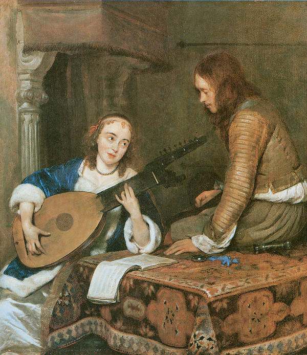 Gerard Terborch Poster featuring the painting A Woman Playing The Theorbo-lute And A Cavalier by Gerard Terborch