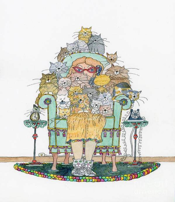Cats Poster featuring the painting Cat Lady - In Chair by Mag Pringle Gire