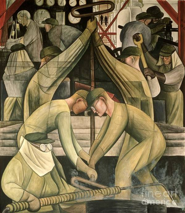 Ford Poster featuring the painting Detroit Industry South Wall by Diego Rivera