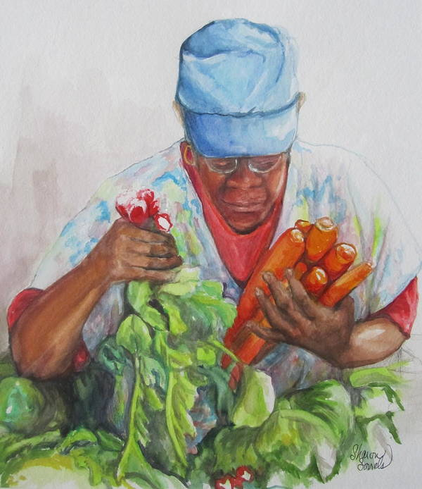 African Americans Poster featuring the painting Farmers Market Vendor by Sharon Sorrels
