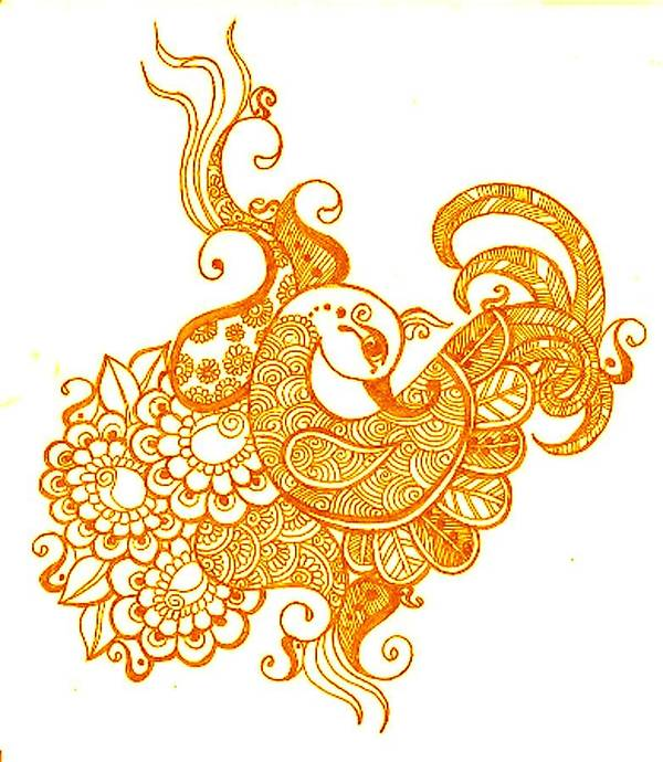 Mehndi Poster featuring the drawing Gold by Jessica Petty