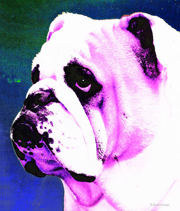 Dog Poster featuring the painting Grunt - Bulldog Pop Art By Sharon Cummings by Sharon Cummings
