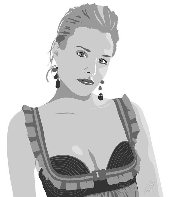 Sexy Poster featuring the drawing Kristen Bell by Paul Dunkel