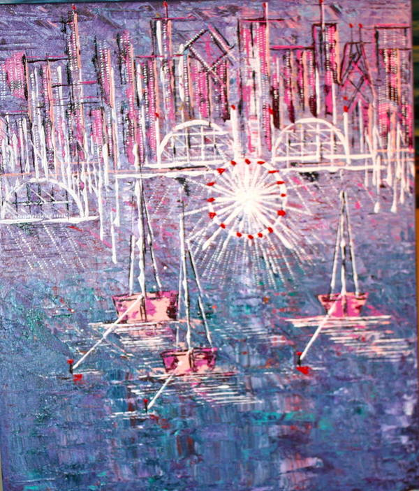 Sailboats Poster featuring the painting Belmont Turn Magenta Chicago by George Riney