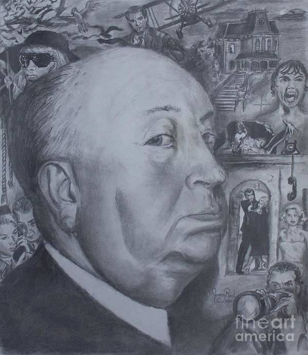 Alfred Hitchcock Poster featuring the drawing Master Of Suspense by Jeremy Reed