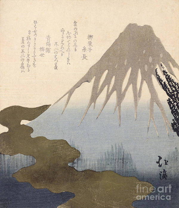 Mountain Poster featuring the painting Mount Fuji Under The Snow by Toyota Hokkei