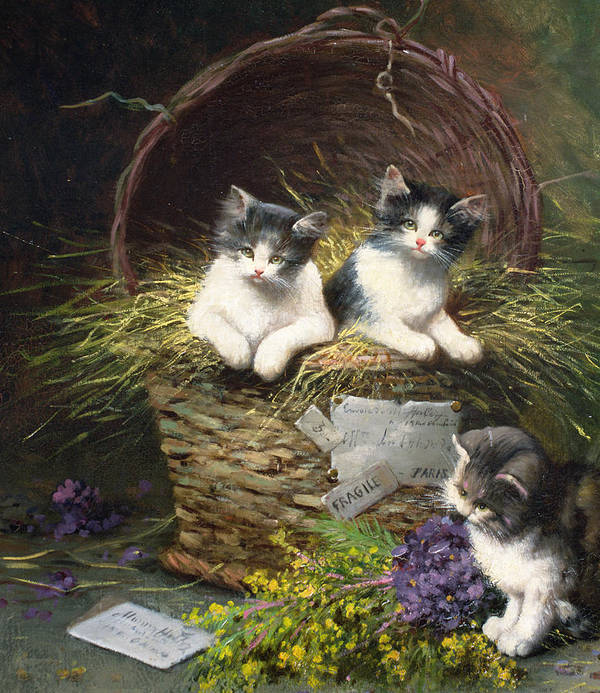 Cat Poster featuring the painting Playtime by Leon Charles Huber